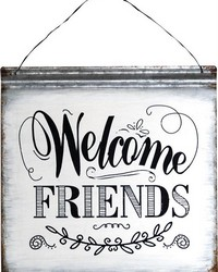 Welcome Friends Metal Word Sign Square  by