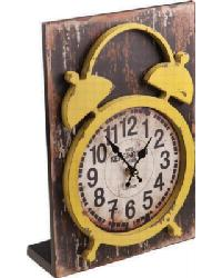 Wood Table Clock Yellow by