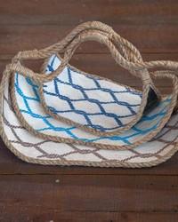 Bay Breeze Wood jute Baskets Set  by