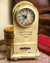 Under His Wings Table Clock Cream by