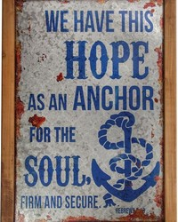 Hope Anchor Wood Metal Word Sign Set  by