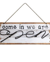 Open Closed Double Sided Wood Sign by