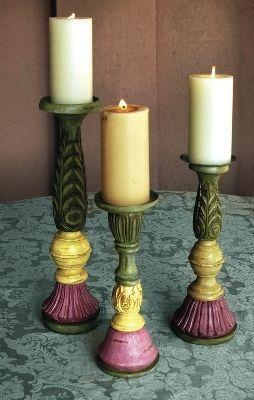 Manual Woodworkers and Weavers  Inc Mayfair Candlesticks Set of 3  Candle Holders and Candelabra