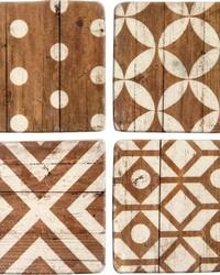 Pattern Wood Coaster Set by