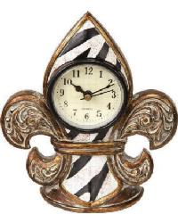 Zebra Stripe Fleur De Lis Clock by