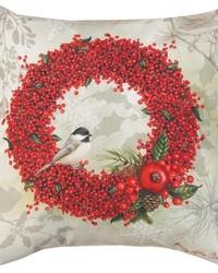 Winterberry In Winter Garden Pillow  by