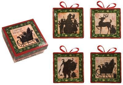 Manual Woodworkers and Weavers  Inc Christmas Silhouette Mini Plates Boxed Set  Christmas Table Decor