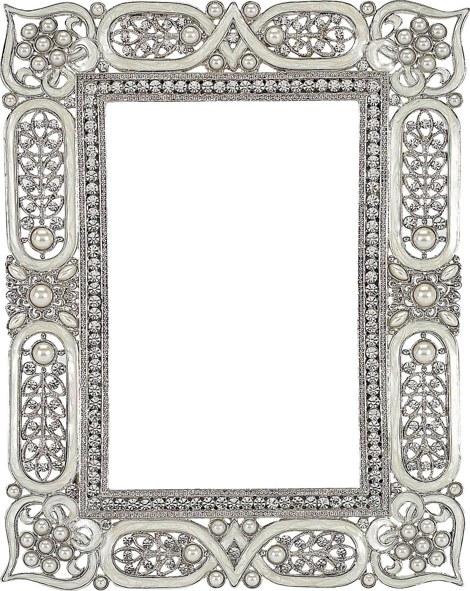 White Enamel Czarina 4x6 Frame - InteriorDecorating