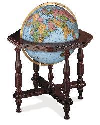 Statesman Blue Illuminated Floor Globe by