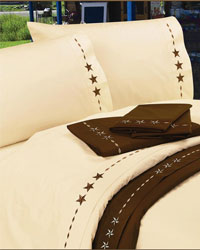 350TC Embroidered Star Bed Sheet Set by