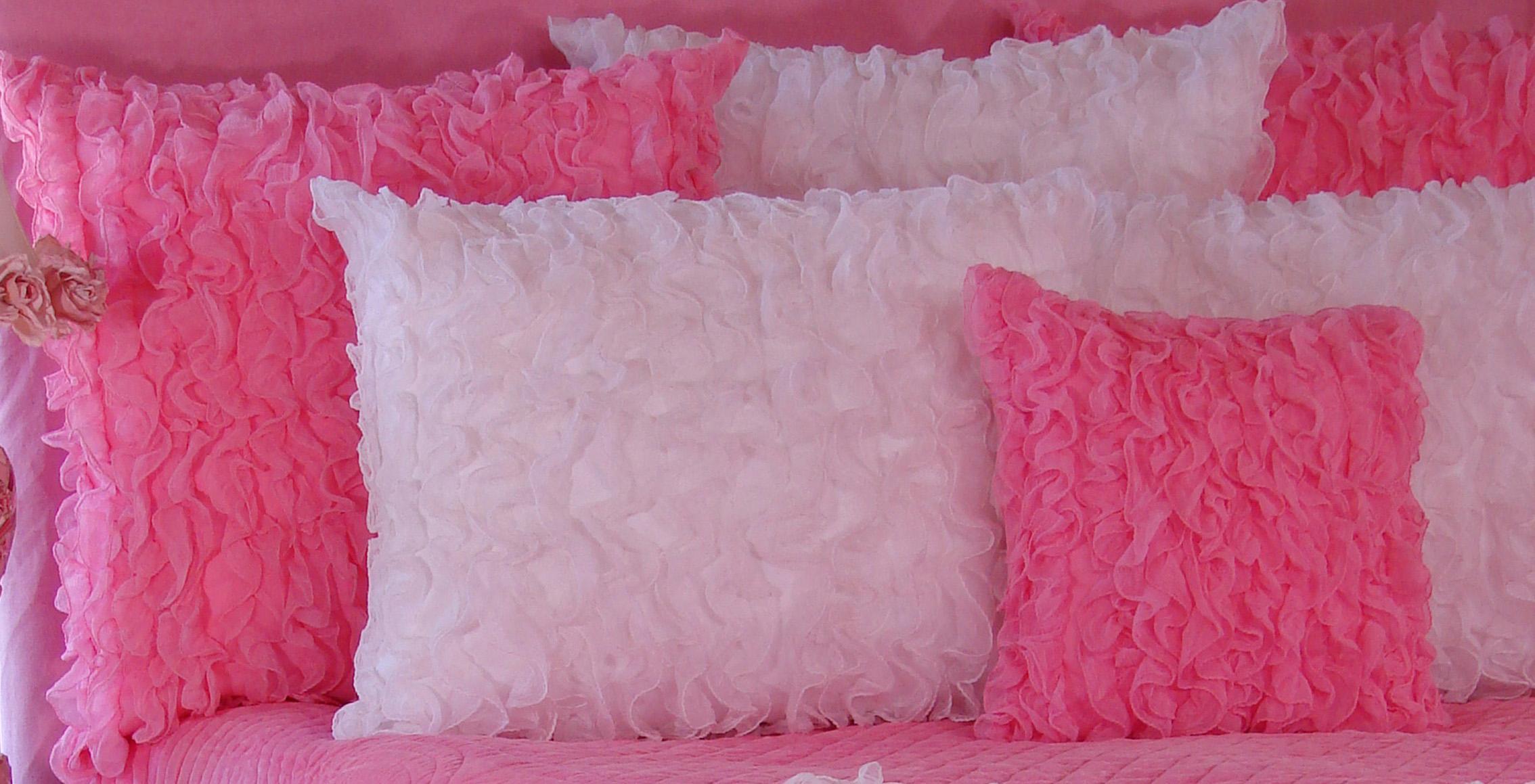 hot pink chiffon ruffle pillow