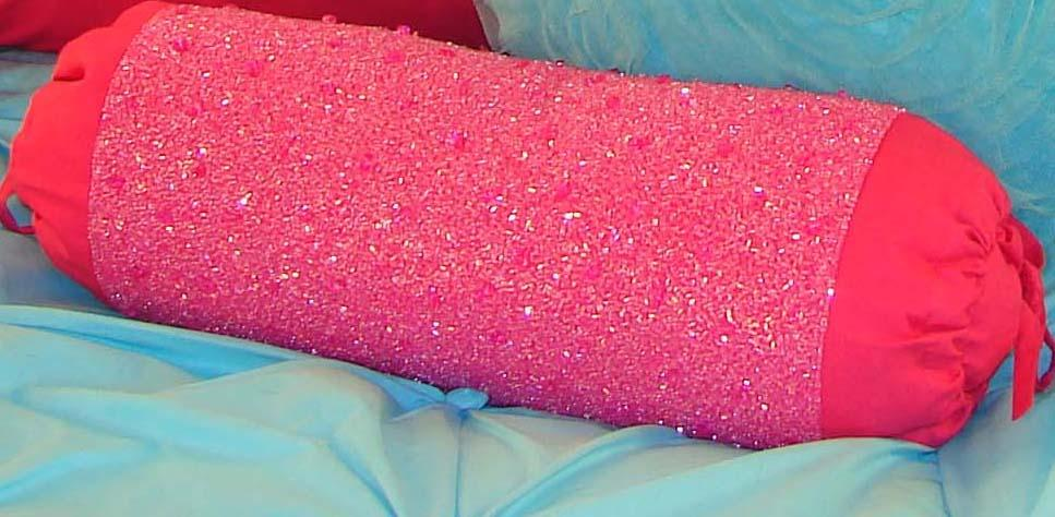 Hot Pink Beaded Neck Roll Pillow
