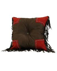 Brown Tooled Pillow with Scallop by