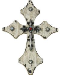 Cream Wood Cross with Silver and Red Accents by