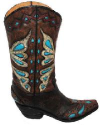 Turquoise Butterfly Boot Vase by