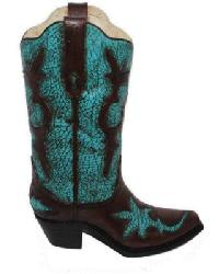 Turquoise Distressed Boot Vase by