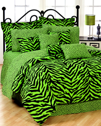 Black and Lime Zebra Print Bedding Set by