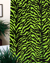 Black and Lime Zebra Shower Curtain by