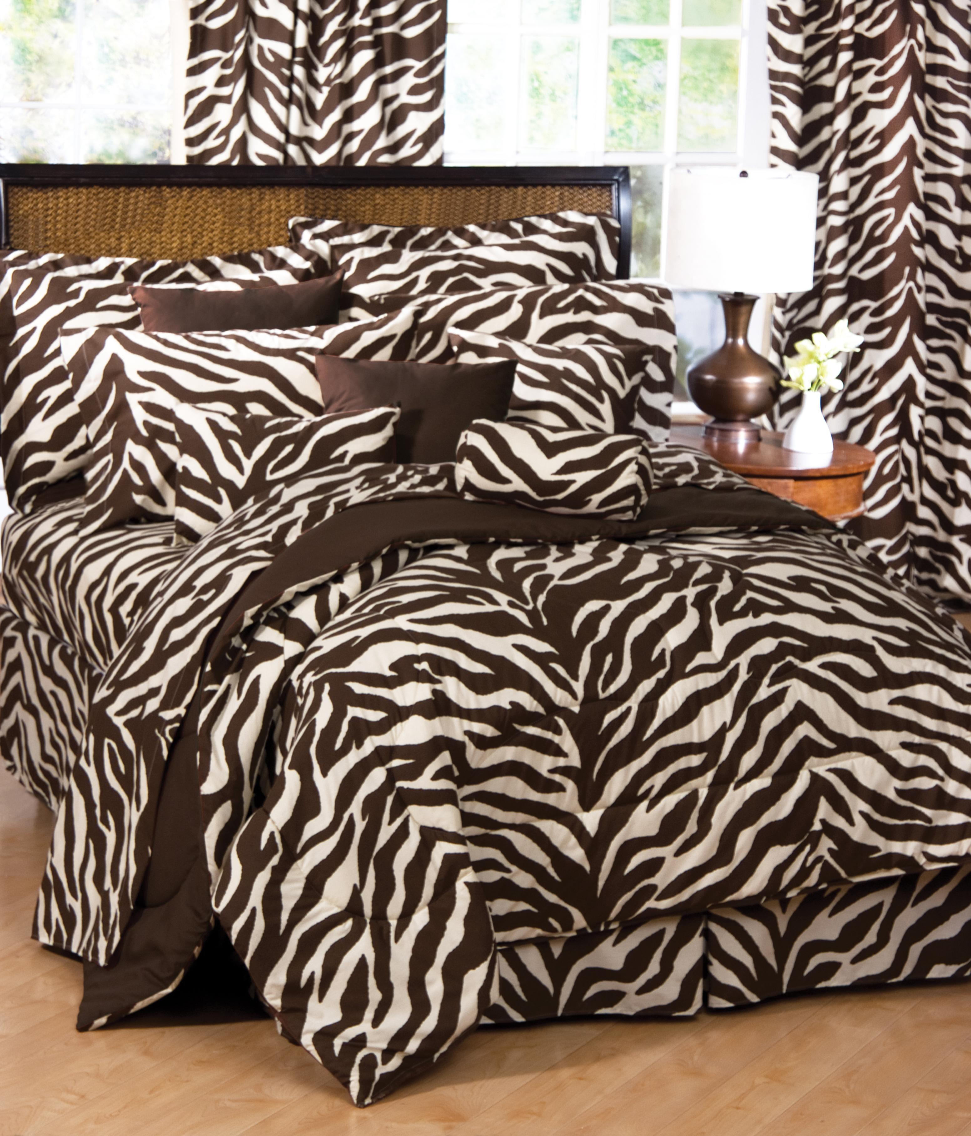 Brown zebra print bed set interiordecorating Zebra print bedding