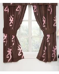 Browning Buckmark Pink Rod Pocket Curtains by