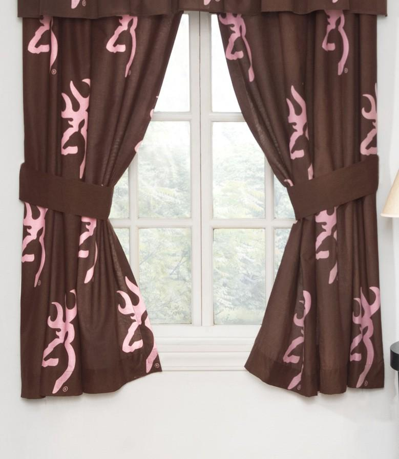High Quality Browning Buckmark Pink Rod Pocket Curtains
