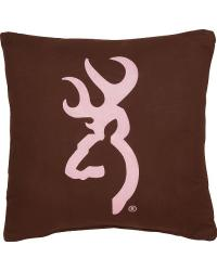 Browning Buckmark Square Brown Logo Pillow by
