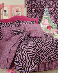 Pink Zebra Print Bedding Set by