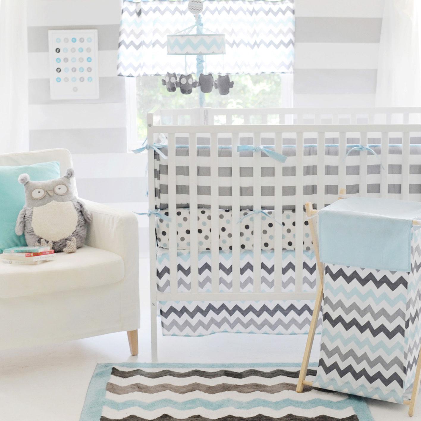 Chevron Baby Aqua Crib Set - InteriorDecorating