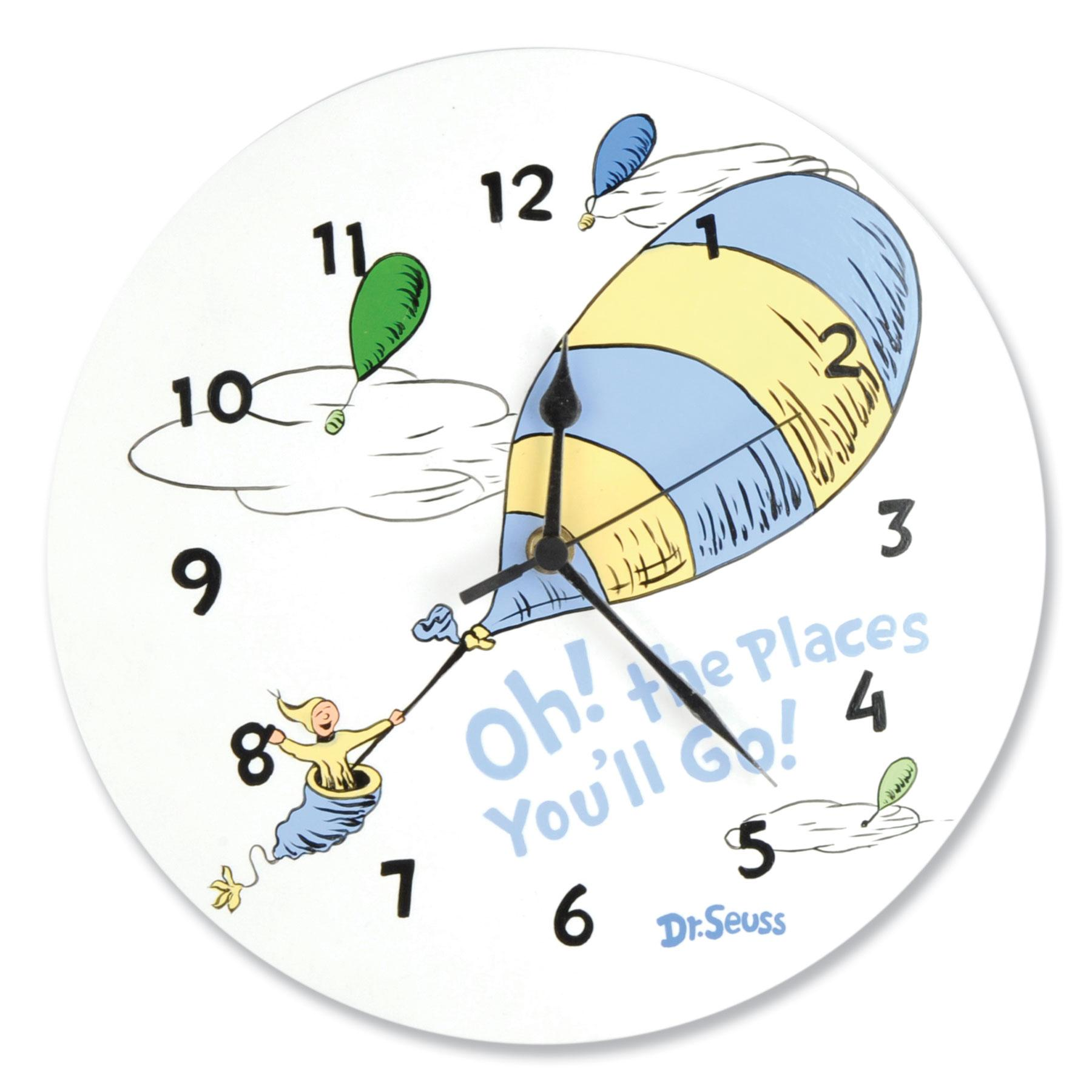 Dr Seuss Oh The Places You Ll Go Blue Wall Clock Trend Lab