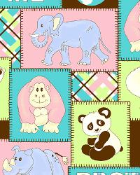Pink Jungle Safari Fabric  Endangered Animals Aqua Pink Multi Flannel