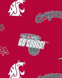 Beige College Fleece Fabric  Washington State Cougars Fleece