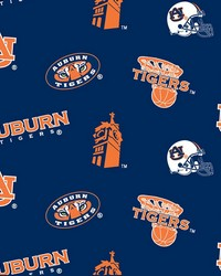 Beige College Fleece Fabric  Auburn Tigers Fleece