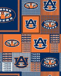 Beige College Fleece Fabric  Auburn Tigers Block Fleece