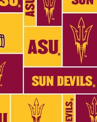 Beige College Fleece Fabric  Arizona State Sun Devils Block Fleece