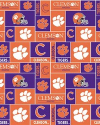 Beige College Fleece Fabric  Clemson Tigers Block Fleece