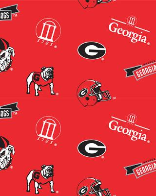 Beige College Fleece Fabric  Georgia Bulldogs Fleece