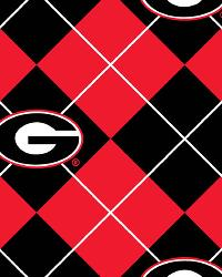 Beige College Fleece Fabric  Georgia Bulldogs Argyle Fleece