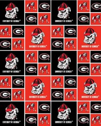 Georgia Bulldogs Cotton Print by