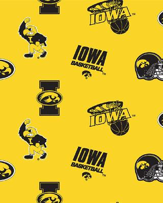 Beige College Fleece Fabric  Iowa Hawkeyes Fleece