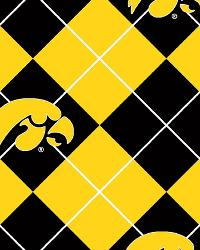 Beige College Fleece Fabric  Iowa Hawkeyes Argyle Fleece