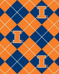 College Fleece Fabric  Illinois Illini Argyle Fleece