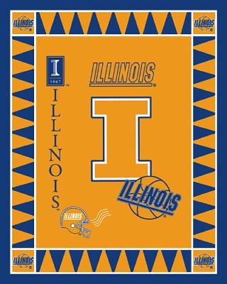 Fleece Fabric Panels  Illinois Illini Fleece Panel