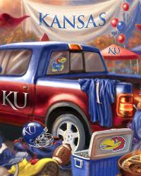 Beige Fleece Fabric Panels  Kansas Jayhawks Tailgate Fleece Panel