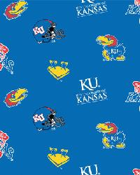 Beige College Fleece Fabric  Kansas Jayhawks Fleece