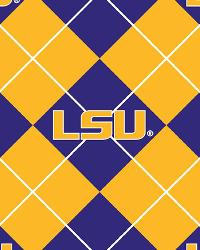 Beige College Fleece Fabric  Louisiana State Tigers Argyle Fleece