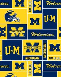 Beige College Fleece Fabric  Michigan Wolverines Block Fleece