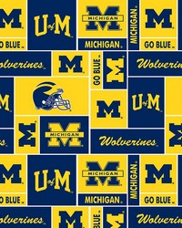 Beige College Fleece Fabric  Michigan Wolverines Fleece