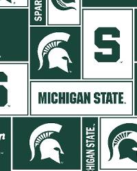 Beige College Fleece Fabric  Michigan State Spartans Block Fleece
