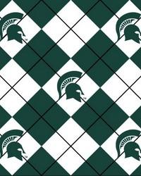 College Fleece Fabric  Michigan State Spartans Argyle Fleece