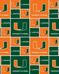 Miami Hurricanes Cotton Print by